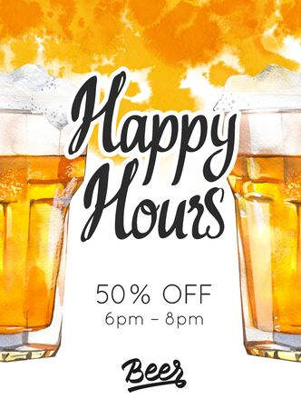 Happy hours poster. Watercolor illustration with glass of lager beer in picturesque style for bar. Drink menu for celebration. Special offer. Stock Photo