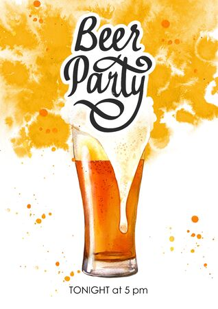 Beer party poster. Watercolor illustration with glass of lager in picturesque style for bar. Drink menu for celebration. Oktoberfest. Фото со стока