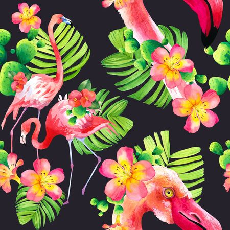 Watercolor seamless pattern on black background. Illustration with pink flamingo and tropical plants. Paradise bird.