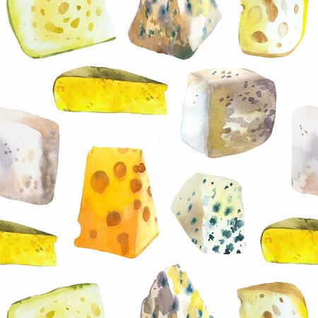Seamless watercolor background with different noble cheeses: camembert, gouda, parmesan, blue, edammer, maasdam, brie, roquefort. Snack bar. Farm dairy products. Fresh organic food. 写真素材 - 127671019