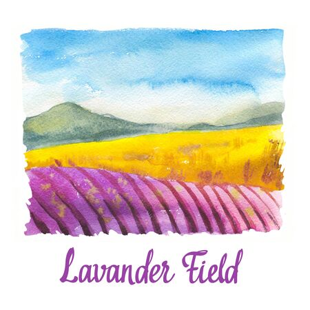 Watercolor illustration with landscape of lavander field. Nature background. Organic farms. Eco growing. Agriculture