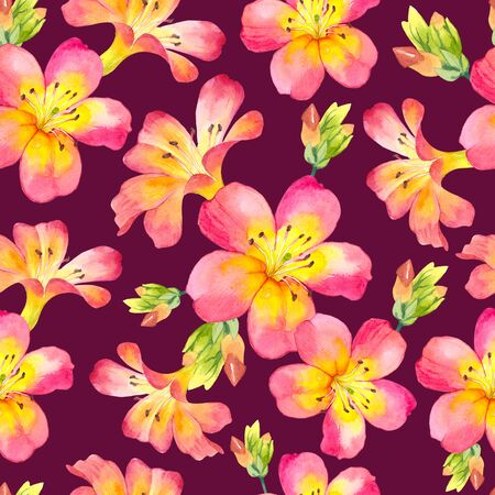 Seamless pattern with watercolor tropical flowers. Beautiful plants on black background. Фото со стока