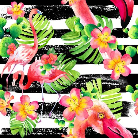 Watercolor seamless pattern on striped background. Illustration with pink flamingo and tropical plants. Paradise bird.