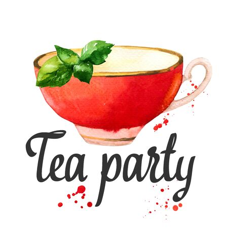 Watercolor red cup. Tea party illustration on white background. Decorative elements with traditional hot drinks for your design. Multicolor decor. Фото со стока
