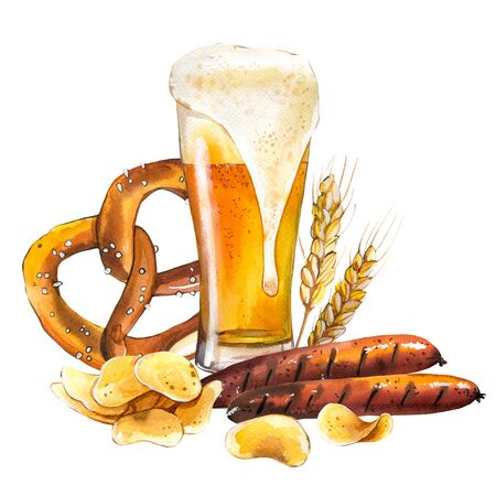 Oktoberfest. Watercolor illustration with glass of lager and snack: sausages, pretzel, chips in picturesque style for bar. Drink menu for celebration. Beer party poster.