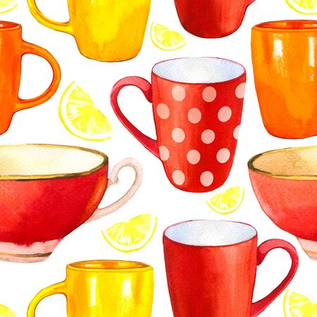 Seamless background. Tea party pattern on white. Watercolor illustration of funny cups. Decorative elements with traditional hot drinks for your packing design. Multicolor decor. Фото со стока