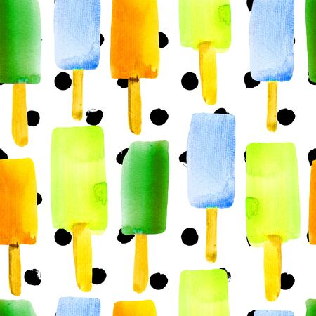 Illustration with ice pop. Colorful watercolor seamless pattern with ice cream on a stick.