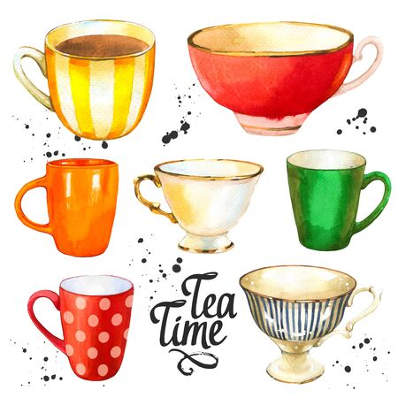 Tea party set on white background. Watercolor illustration of funny cups. Decorative elements with traditional hot drinks for your design. Multicolor decor. Фото со стока