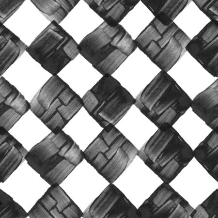 Seamless pattern with creative texture. Ink background of paint strokes. Black and white. Фото со стока