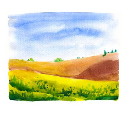 Watercolor illustration with landscape field. Nature background. Organic farms. Eco growing. Agriculture Фото со стока