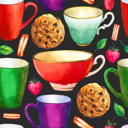 Seamless background. Tea party pattern on black. Watercolor illustration of funny cups. Decorative elements with traditional hot drinks for your packing design. Multicolor decor. Фото со стока