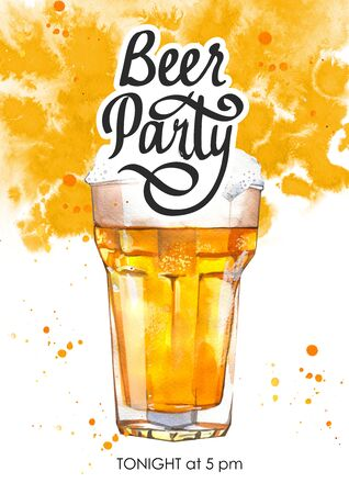 Beer party poster. Watercolor illustration with glass of lager in picturesque style for bar. Drink menu for celebration. Oktoberfest. Stock Photo