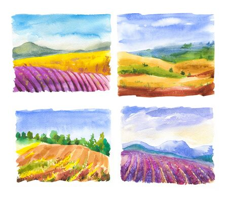 Set of watercolor illustration with landscape fields. Nature background. Organic farms. Eco growing. Agriculture.