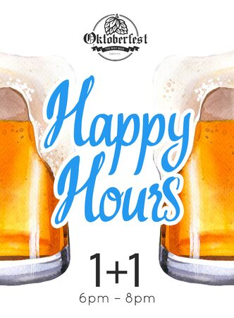 Happy hours poster. Watercolor illustration with glass of lager beer in picturesque style for bar. Drink menu for celebration. Special offer. Фото со стока