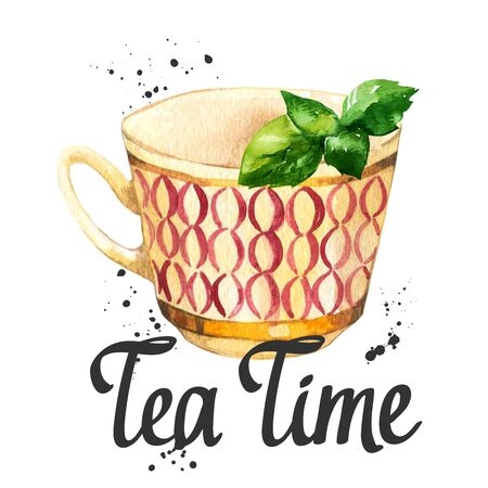 Tea party illustration on white background. Watercolor cup, sweets, candies, bun, roll. Decorative elements with traditional hot drinks for your design. Multicolor decor.