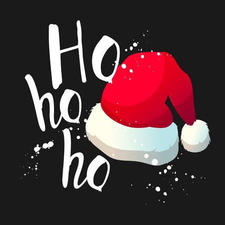 Vector holiday illustration to celebrate the new year on black background with Santas cap. Handwritten inscription. Lettering design. Иллюстрация