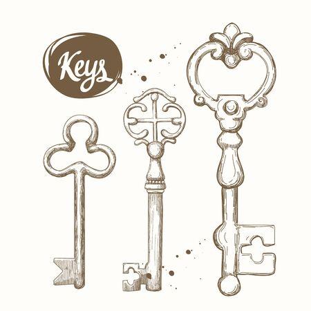 Insieme di vettore delle chiavi antiche disegnate a mano.