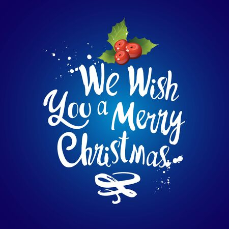 Vector holiday illustration Merry Christmas on blue background with holly.