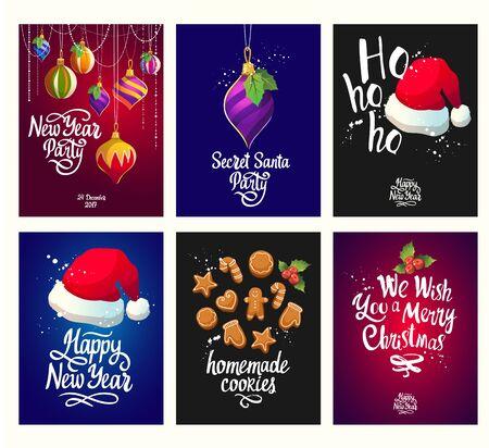 Christmas poster set with vector illustration. Иллюстрация