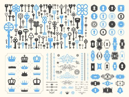 Big silhouettes set of keys, wreaths, crown, branch on white