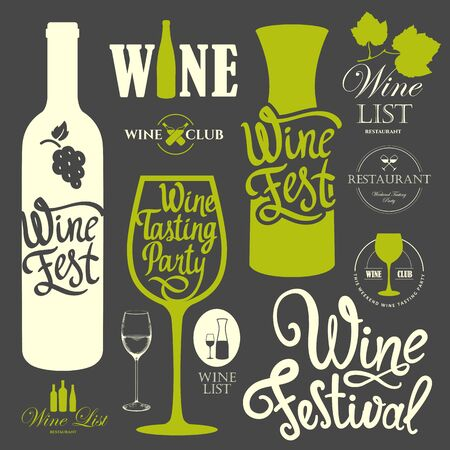 Vector illustration with labels, bottle, glass sketch style. Иллюстрация
