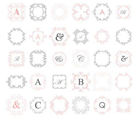 Wreath set. Vector calligraphic  with frames on white Stock Illustratie