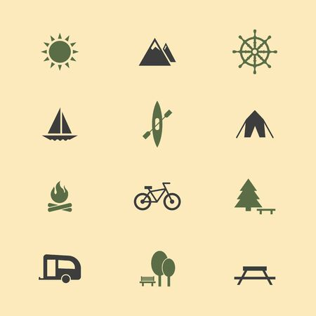 Icon camping set. Иллюстрация