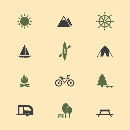 Icon camping set. Illustration