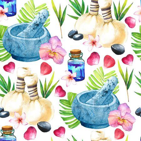 SPA watercolor seamless pattern. Stockfoto