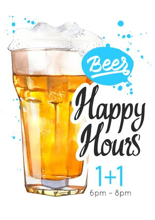 Happy hours poster with glass of lager beer in picturesque style for bar
