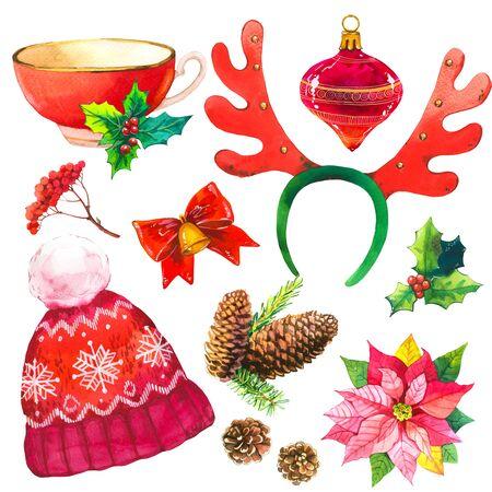 Holiday set with ribbon on white Фото со стока