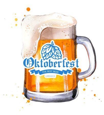 A glass of beer on white Фото со стока