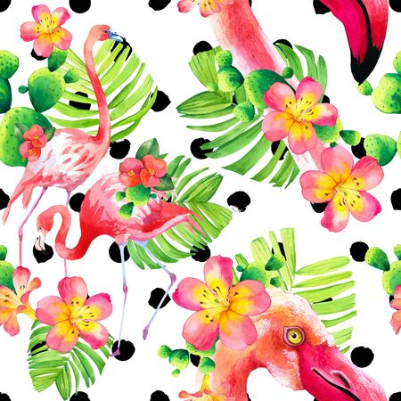 Watercolor seamless pattern on polka dot Фото со стока