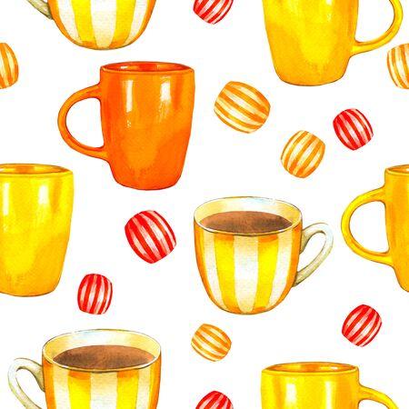 Tea party pattern on white.