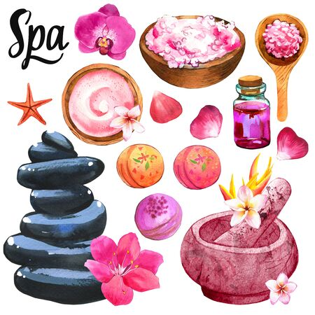 SPA illustrations with a variety of means for body and face Фото со стока