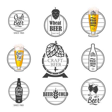 Vector Illustration with beer pub design and labels. Simple symbols glass, bottle. Traditions of drink. Decorative elements for your design. Black white style. Ilustração