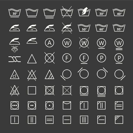 Icon set of laundry symbols, vector illustration Archivio Fotografico - 134063727