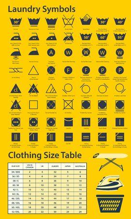 Icon set of laundry symbols, vector illustration Archivio Fotografico - 134063752