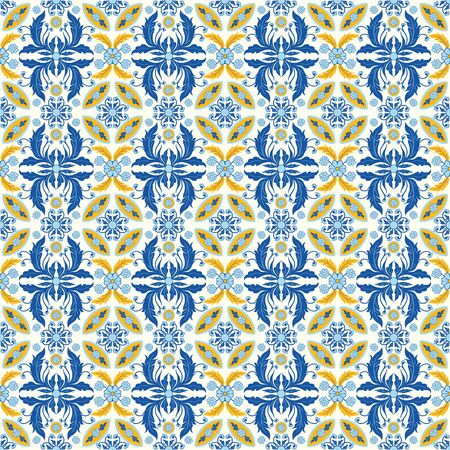 Seamless pattern with portuguese tiles. Vector illustration of Azulejo on white background. Mediterranean style. Multicolor design. Vecteurs