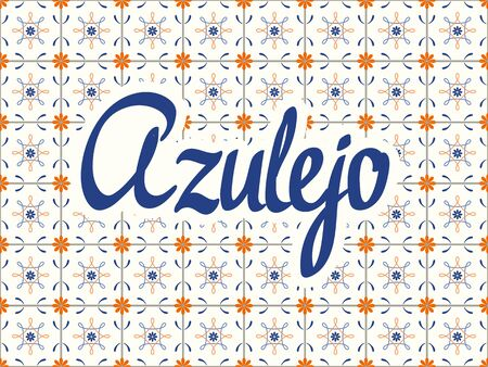 Seamless pattern with portuguese tiles. Vector illustration of Azulejo on white background. Mediterranean style. Multicolor design. Vector Illustratie