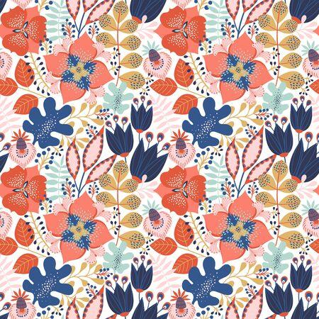 화이트에 꽃 완벽 한 패턴입니다. 꽃과 잎 추상적인 벡터 배경입니다. 자연스럽고 밝은 디자인. 스칸디나비아 스타일.
