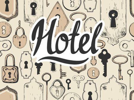 Seamless pattern. Vector set of hand-drawn antique keys, keyholes and locks. Illustration in sketch style on white background. Old design. Ilustração
