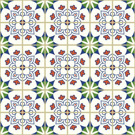 Seamless pattern with with Portuguese tiles. Vector illustration of Azulejo on white background. Mediterranean style. Multicolor design. Ilustração