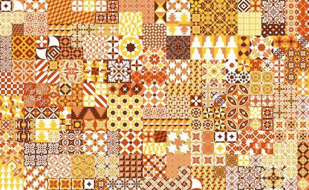 Naadloos patroon met Portugese tegels. Vector illustratie van Azulejo op witte achtergrond. Mediterrane stijl. Multicolor ontwerp.