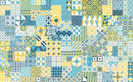 Modello senza cuciture con piastrelle portoghesi. Illustrazione vettoriale di Azulejo su sfondo bianco. Stile mediterraneo. Design multicolor. Vettoriali