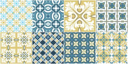 Patrones sin fisuras con azulejos portugueses. Ilustración de vector de Azulejo sobre fondo blanco. Estilo mediterraneo. Diseño multicolor.