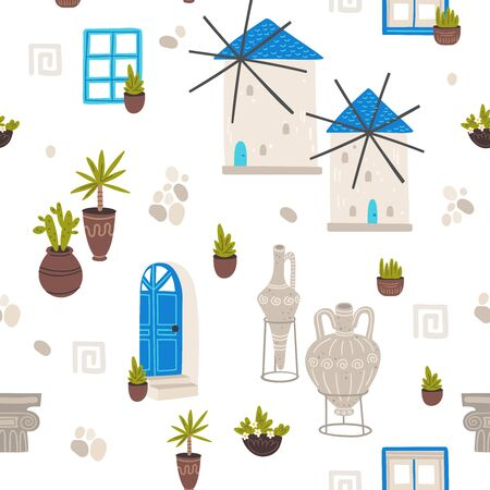 Greece symbols cartoon vector seamless pattern. Greek architecture and pottery hand drawn texture. Mediterranean buildings and clayware illustration with text. Wallpaper, wrapping paper flat design