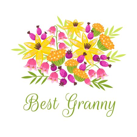 Best Grandma flat vector postcard, greeting card template. Bouquet of flowers for grandmother cartoon illustration. Retirement party, celebration invitation with floral design banner with calligraphy