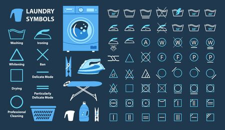 Icon set of laundry symbols, vector illustration Archivio Fotografico - 134418132