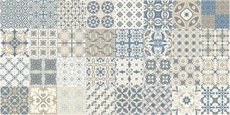 Modèle sans couture avec des carreaux portugais. Illustration vectorielle d'Azulejo sur fond blanc. Style méditerranéen. Conception multicolore.